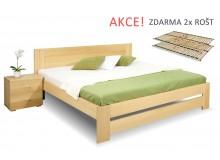 Dřevěná postel s rošty Jirka, 160x200, 180x200, masiv buk