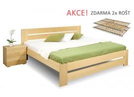 Dřevěná postel s rošty Berni, 160x200, 180x200, masiv buk