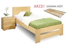 Jednolůžková postel s roštem Jirka, 80x200, 90x200, masiv buk