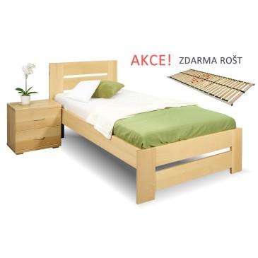 Jednolůžková postel s roštem Berni, 80x200, 90x200, masiv buk