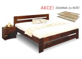 Dřevěná postel s rošty Berni, 160x200, 180x200, masiv smrk