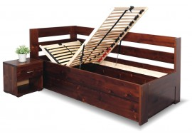 Zvýšená postel s úložným prostorem Valentin, 90x200 cm - Levá