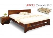 Dřevěná postel s rošty Jirka, 160x200, 180x200, masiv smrk