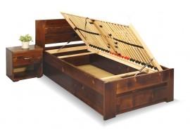 Jednolůžková postel s úložným prostorem Jirka, 80x200, 90x200, masiv smrk