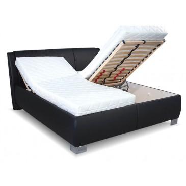 Čalouněná postel s úložným prostorem Norka Black, čelní výklop
