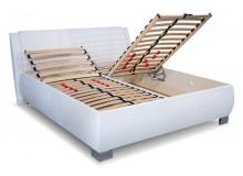 Čalouněná postel s úložným prostorem Norka White, čelní výklop