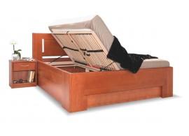 Manželská postel s úložným prostorem HOLLYWOOD 1. senior, masiv buk