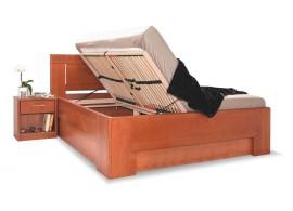 Manželská postel s úložným prostorem HOLLYWOOD 2. senior, masiv buk