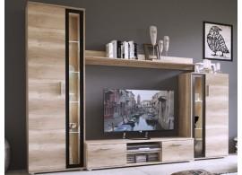 Moderní obývací stěna BENY, dub šedý/černá, 256x182
