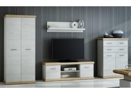 Moderní obývací stěna CASA-5169, divoký dub/bílá, 334x192