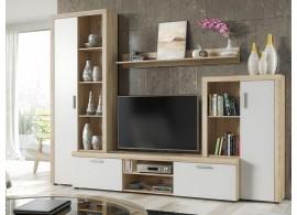 Moderní obývací stěna Nobe, dub sonoma-bílá, 263x202