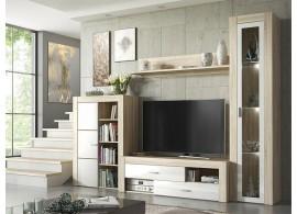 Moderní obývací stěna Nisa,dub sonoma-bílá, 260x198
