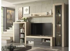Moderní obývací stěna Nisa,dub sonoma-šedá, 260x198