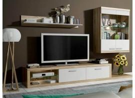 Moderní obývací stěna Lores, dub sonoma-bílá, 240x185