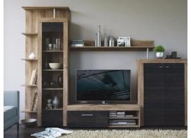 Moderní obývací stěna Yndie, dub sonoma-šedočerná, 283x205