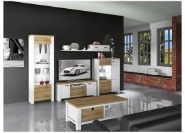 Moderní obývací stěna Guano,bílá mat-dub wotan, 300x203