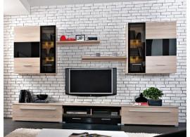 Moderní obývací stěna Somatic,dub sonoma-černý lesk, 340x205