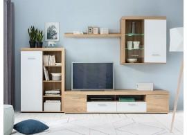 Moderní obývací stěna Zora,dub sonoma-bílá, 300x190