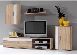 Moderní obývací stěna Asole,dub sonoma-bílá, 230x190