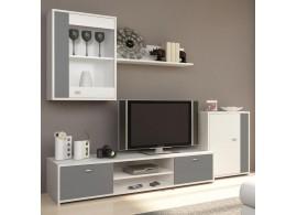 Moderní obývací stěna Genta, šedá-bílá, 210x180