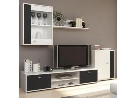 Moderní obývací stěna Genta, bílá-černá, 210x180