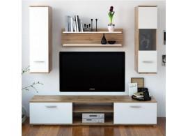 Moderní obývací stěna WAW NEW,dub wotan-bílá, 188x165