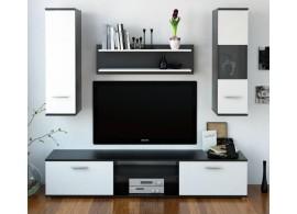 Moderní obývací stěna WAW NEW, černá-bílá, 188x185