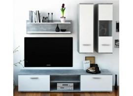 Moderní obývací stěna WAW NEW,beton-bílá, 188x185