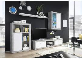 Moderní obývací stěna KLARK,beton-bílá, 270x200