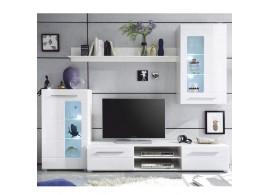 Moderní obývací stěna Henri, vysoký lesk, bílá, 240x190