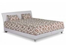 Čalouněná postel s úložným prostorem Vinco, 160x200, bílá-hnědá