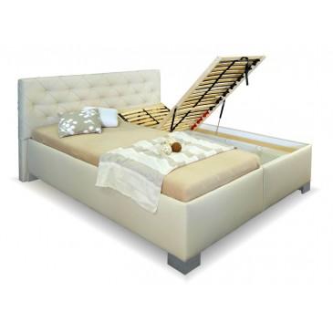 Zvýšená čalouněná postel s úložným prostorem MARINETA