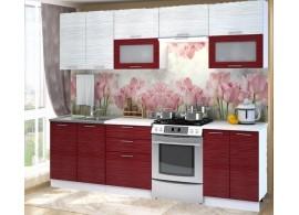 Moderní kuchyňská linka CASA-7054, bílá-červená lesk, 260 cm