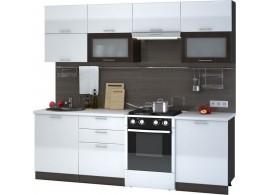 Moderní kuchyňská linka CASA-7053, bílá lesk-wenge, 240 cm