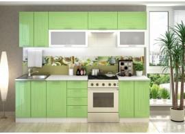 Moderní kuchyňská linka CASA-7180, zelená metalic lesk, 260 cm