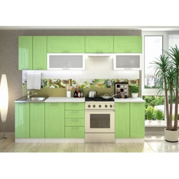 Moderní kuchyňská linka CS-7180, zelená metalic lesk, 260 cm