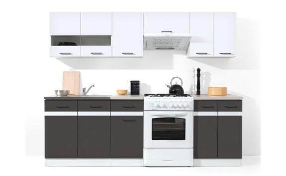 Kuchyňská linka JUNONA, bílá lesk-šedá, 240 cm