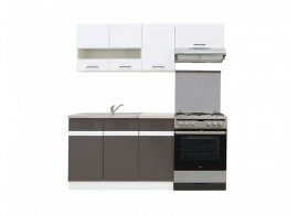 Kuchyňská linka JUNONA, bílá lesk-šedá, 180cm