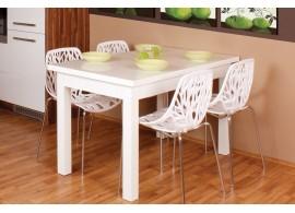 Rozkládací jídelní stůl Antonín, lamino, 140x80 cm, bílá lesk