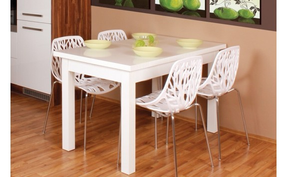 Rozkládací jídelní stůl Antonín, lamino, 180x80 cm, bílá lesk