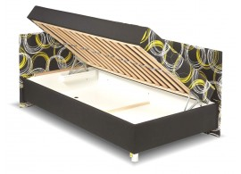 Čalouněná postel s čely a úložným prostorem Nikola
