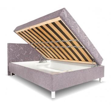 Čalouněná postel s čelem a úložným prostorem Zuzana, 140x200