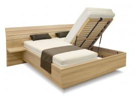 Manželská postel s úložným prostorem Salmia, s nočními stolky, 160x200, 180x200