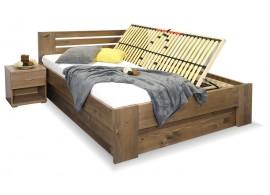 Zvýšená postel dvoulůžko s úložným prostorem ROSA, masiv smrk