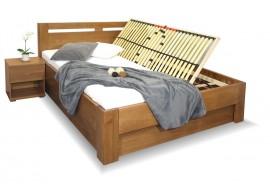Zvýšená postel dvoulůžko s úložným prostorem HERKULES, masiv buk
