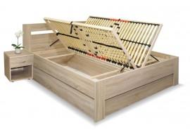 Manželská postel s úložným prostorem, boční výklop LADA 180x210, 180x220