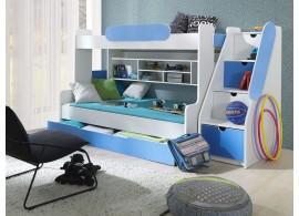 Dětská patrová postel se zábranou a úložným prostorem Sagi, lamino