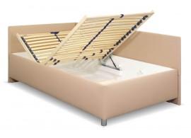 Zvýšená čalouněná postel s úložným prostorem Ryana, 120x200