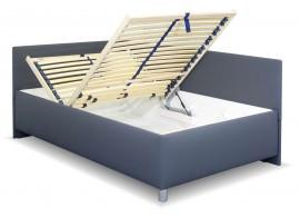 Zvýšená čalouněná postel s úložným prostorem Ryana, 140x200