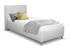 Čalouněná postel s úložným prostorem Crissy, 90x200, světle šedá